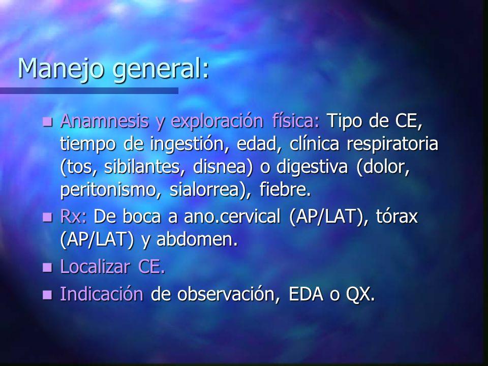 Manejo general: Anamnesis y exploración física: Tipo de CE, tiempo de ingestión, edad, clínica respiratoria (tos, sibilantes, disnea) o digestiva (dol
