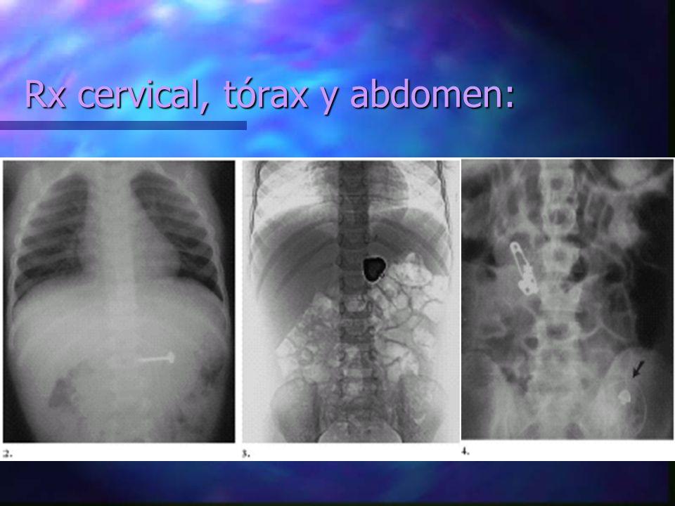 Rx cervical, tórax y abdomen: