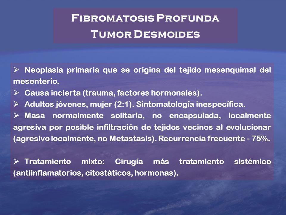 Neoplasia primaria que se origina del tejido mesenquimal del mesenterio. Causa incierta (trauma, factores hormonales). Adultos jóvenes, mujer (2:1). S