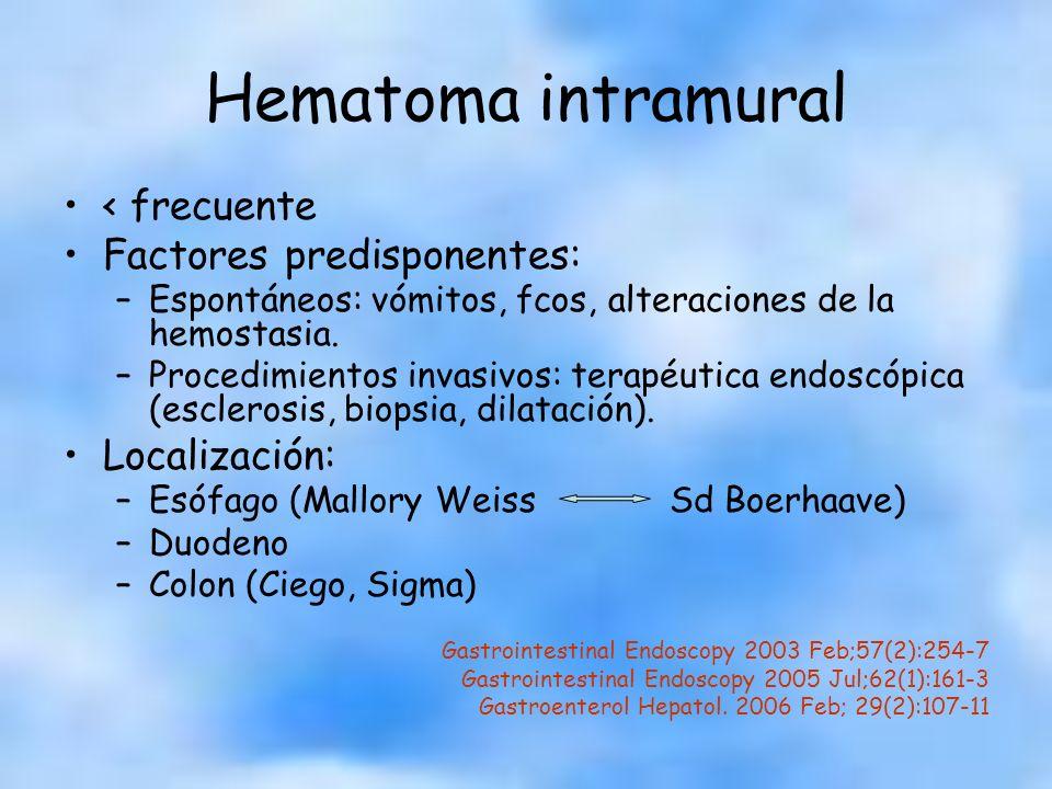 Hematoma intramural < frecuente Factores predisponentes: –Espontáneos: vómitos, fcos, alteraciones de la hemostasia. –Procedimientos invasivos: terapé