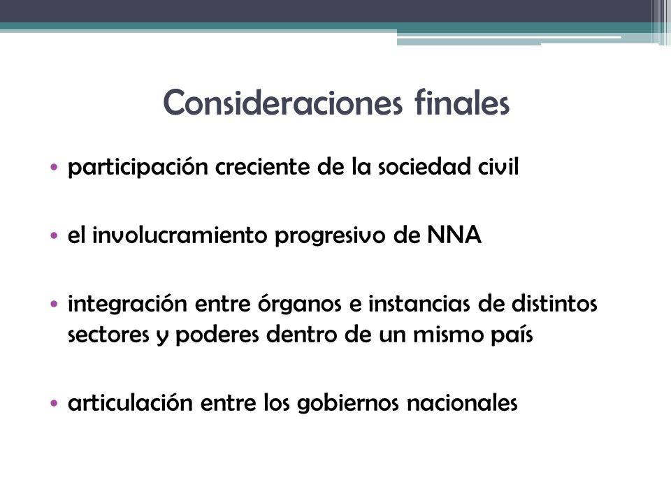 Consideraciones finales participación creciente de la sociedad civil el involucramiento progresivo de NNA integración entre órganos e instancias de di