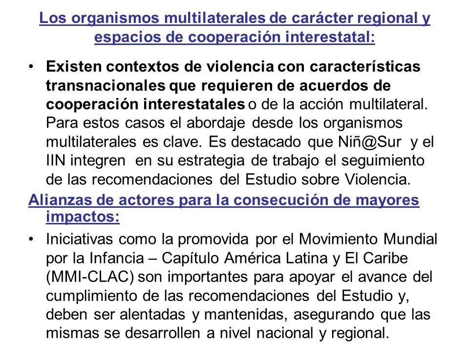 Los organismos multilaterales de carácter regional y espacios de cooperación interestatal: Existen contextos de violencia con características transnac