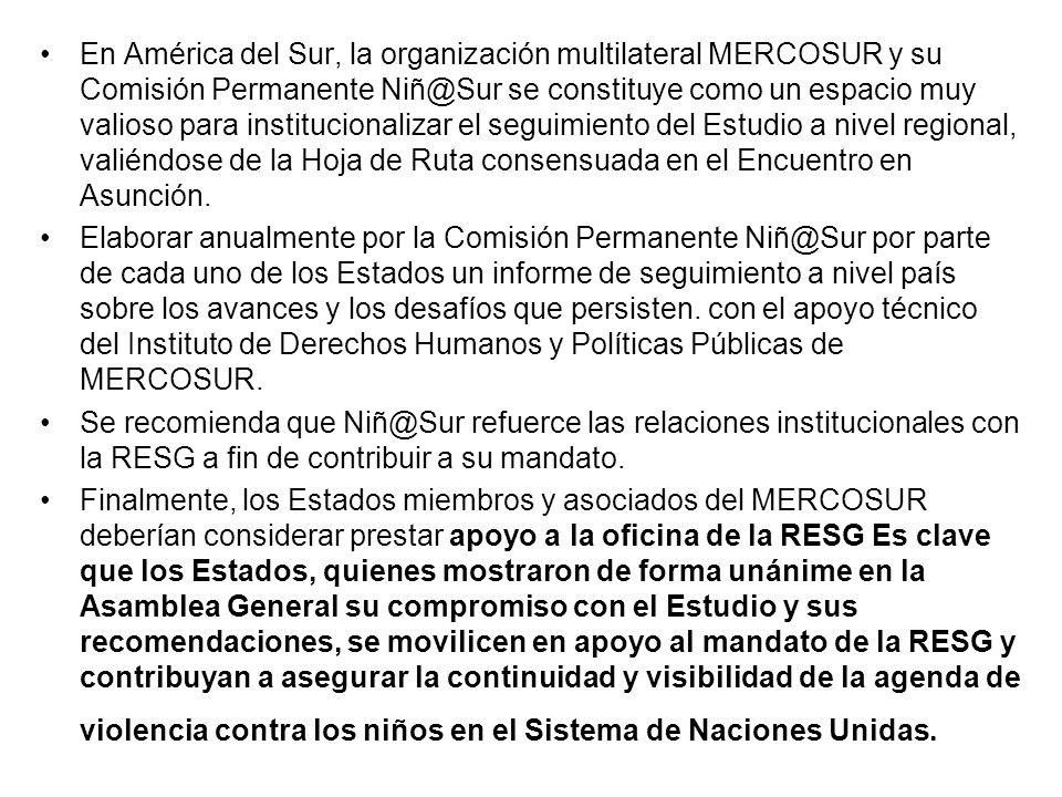 En América del Sur, la organización multilateral MERCOSUR y su Comisión Permanente Niñ@Sur se constituye como un espacio muy valioso para instituciona