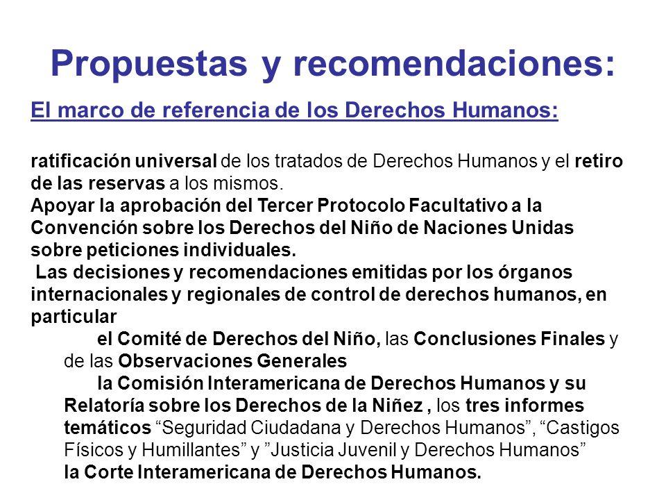 Propuestas y recomendaciones: El marco de referencia de los Derechos Humanos: ratificación universal de los tratados de Derechos Humanos y el retiro d