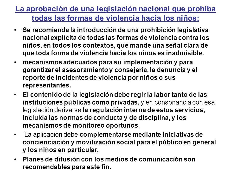 La aprobación de una legislación nacional que prohíba todas las formas de violencia hacia los niños: Se recomienda la introducción de una prohibición