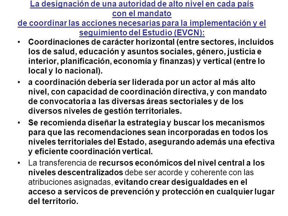 La designación de una autoridad de alto nivel en cada país con el mandato de coordinar las acciones necesarias para la implementación y el seguimiento