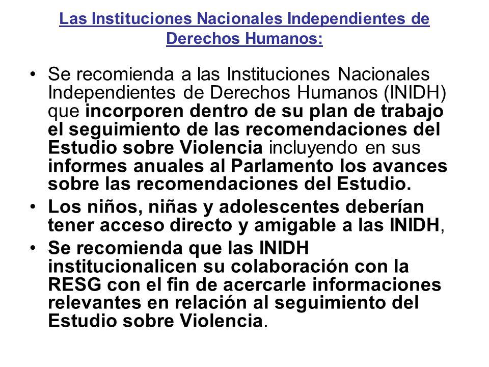 Las Instituciones Nacionales Independientes de Derechos Humanos: Se recomienda a las Instituciones Nacionales Independientes de Derechos Humanos (INID
