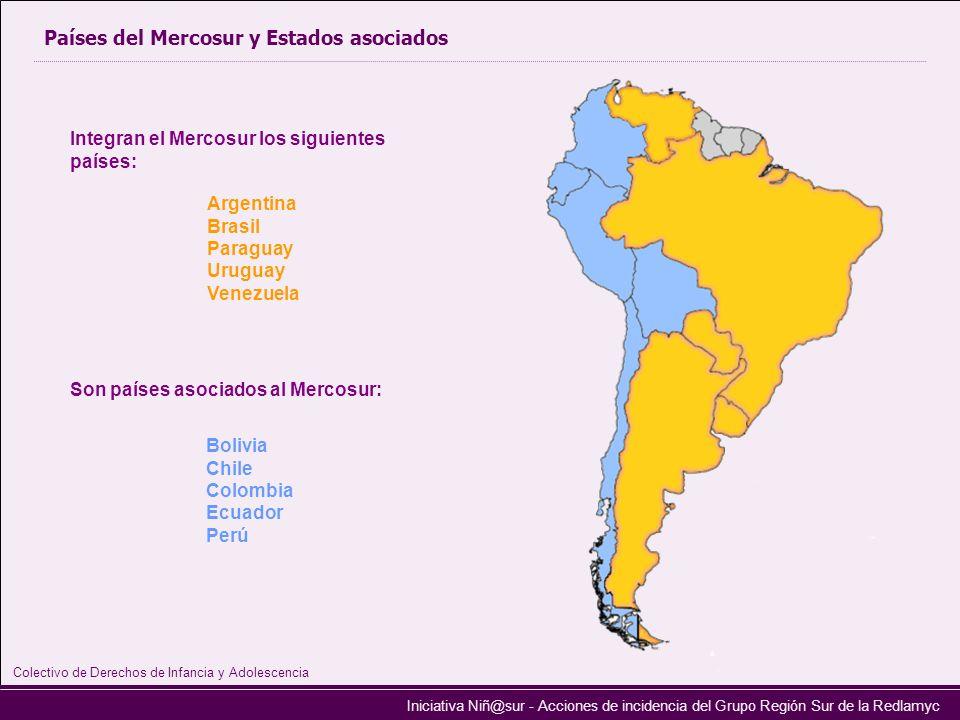 Iniciativa Niñ@sur - Acciones de incidencia del Grupo Región Sur de la Redlamyc Países del Mercosur y Estados asociados Integran el Mercosur los sigui
