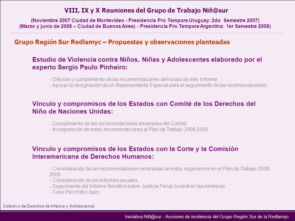 Iniciativa Niñ@sur - Acciones de incidencia del Grupo Región Sur de la Redlamyc Grupo Región Sur Redlamyc – Propuestas y observaciones planteadas Estu