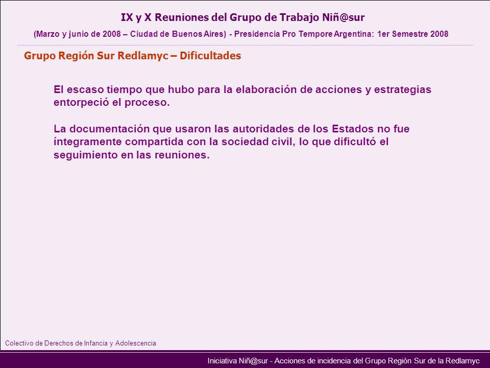 Iniciativa Niñ@sur - Acciones de incidencia del Grupo Región Sur de la Redlamyc Grupo Región Sur Redlamyc – Dificultades IX y X Reuniones del Grupo de