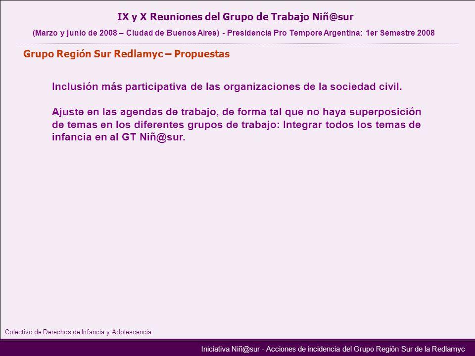 Iniciativa Niñ@sur - Acciones de incidencia del Grupo Región Sur de la Redlamyc Grupo Región Sur Redlamyc – Propuestas IX y X Reuniones del Grupo de T