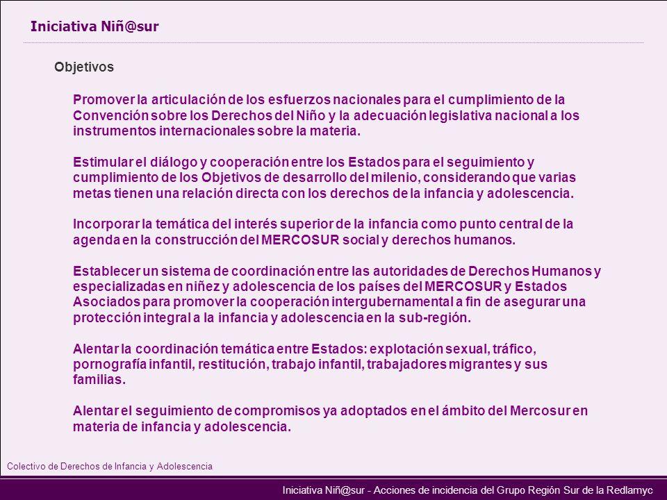 Iniciativa Niñ@sur - Acciones de incidencia del Grupo Región Sur de la Redlamyc Iniciativa Niñ@sur Promover la articulación de los esfuerzos nacionale
