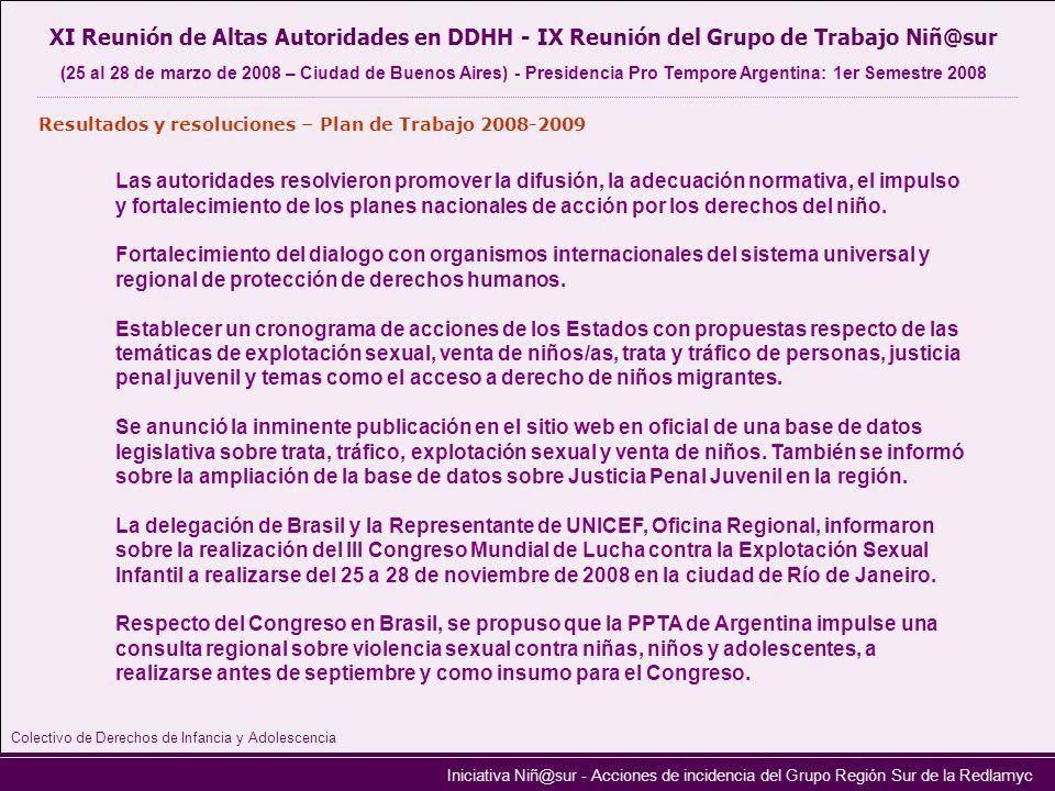 Iniciativa Niñ@sur - Acciones de incidencia del Grupo Región Sur de la Redlamyc XI Reunión de Altas Autoridades en DDHH - IX Reunión del Grupo de Trab