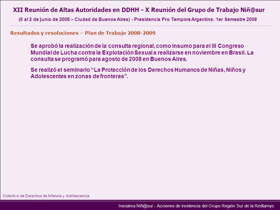 Iniciativa Niñ@sur - Acciones de incidencia del Grupo Región Sur de la Redlamyc XII Reunión de Altas Autoridades en DDHH - X Reunión del Grupo de Trab