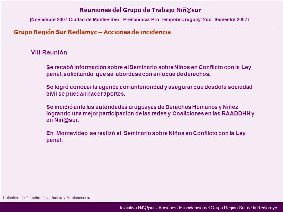 Iniciativa Niñ@sur - Acciones de incidencia del Grupo Región Sur de la Redlamyc Grupo Región Sur Redlamyc – Acciones de incidencia VIII Reunión Reunio