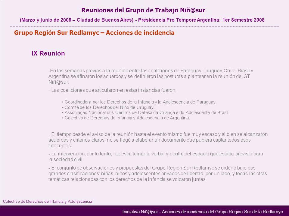 Iniciativa Niñ@sur - Acciones de incidencia del Grupo Región Sur de la Redlamyc Grupo Región Sur Redlamyc – Acciones de incidencia IX Reunión -En las
