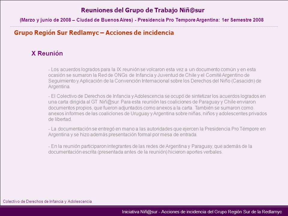 Iniciativa Niñ@sur - Acciones de incidencia del Grupo Región Sur de la Redlamyc X Reunión Reuniones del Grupo de Trabajo Niñ@sur (Marzo y junio de 200