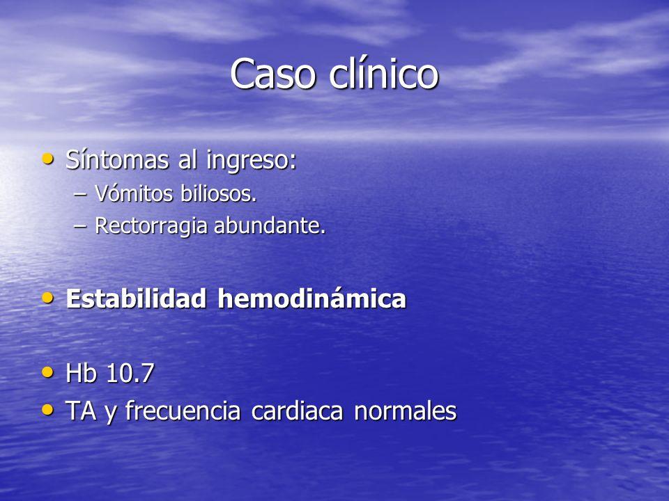 Caso clínico Síntomas al ingreso: Síntomas al ingreso: –Vómitos biliosos. –Rectorragia abundante. Estabilidad hemodinámica Estabilidad hemodinámica Hb