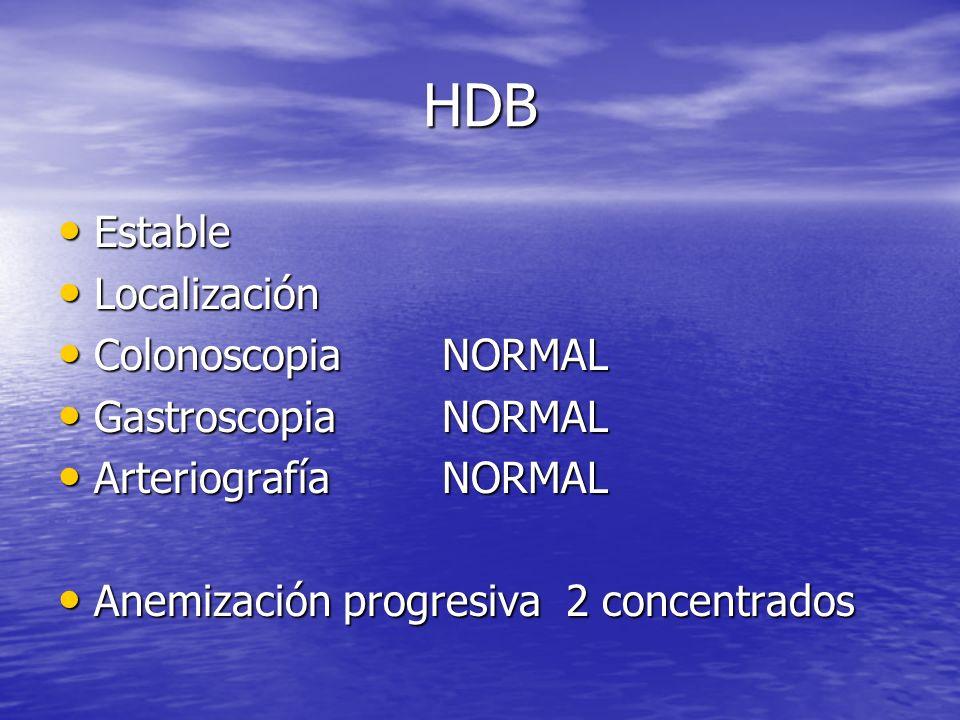 HDB Estable Estable Localización Localización Colonoscopia ColonoscopiaNORMAL Gastroscopia GastroscopiaNORMAL Arteriografía ArteriografíaNORMAL Anemiz