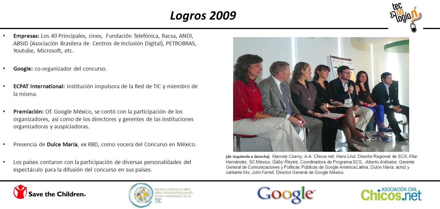 Empresas: Los 40 Principales, cines, Fundación Telefónica, Racsa, ANDI, ABSID (Asociación Brasilera de Centros de Inclusión Digital), PETROBRAS, Youtube, Microsoft, etc.