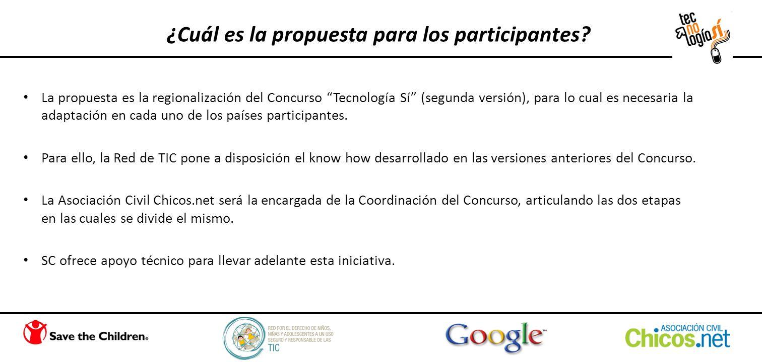 ¿Cuál es la propuesta para los participantes? La propuesta es la regionalización del Concurso Tecnología Sí (segunda versión), para lo cual es necesar
