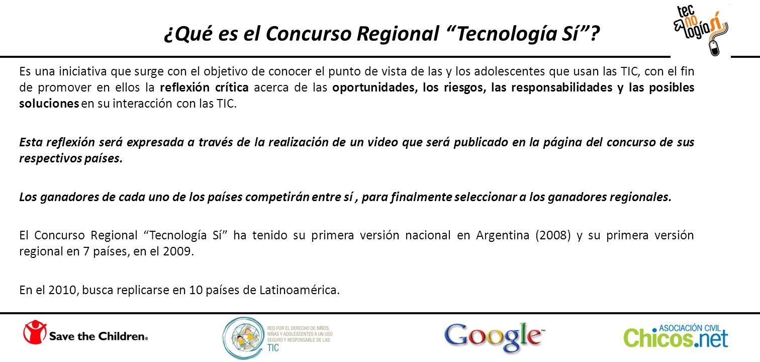 ¿Qué es el Concurso Regional Tecnología Sí? Es una iniciativa que surge con el objetivo de conocer el punto de vista de las y los adolescentes que usa