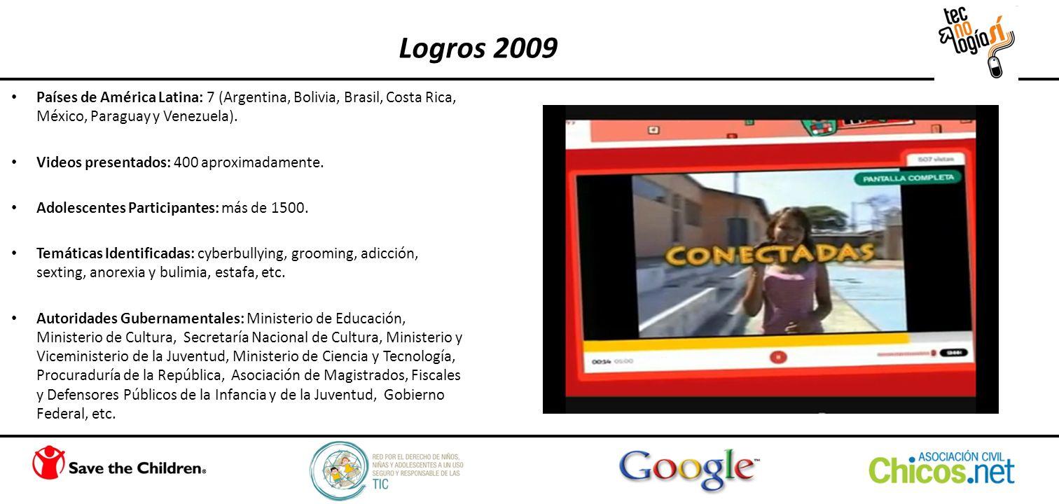 Países de América Latina: 7 (Argentina, Bolivia, Brasil, Costa Rica, México, Paraguay y Venezuela). Videos presentados: 400 aproximadamente. Adolescen