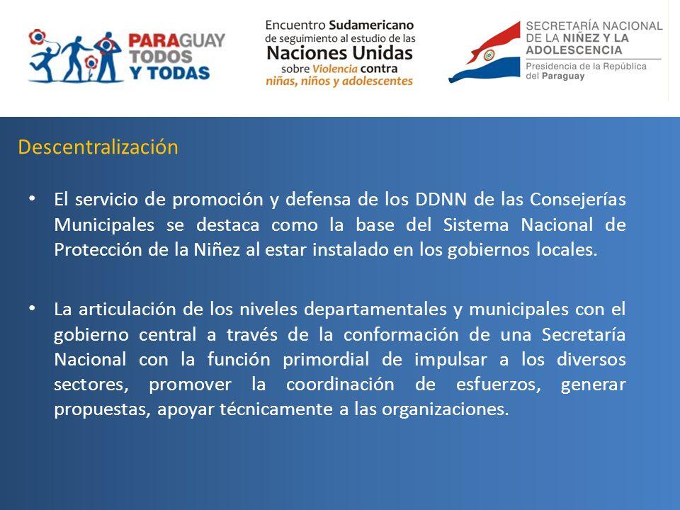 Descentralización El servicio de promoción y defensa de los DDNN de las Consejerías Municipales se destaca como la base del Sistema Nacional de Protec