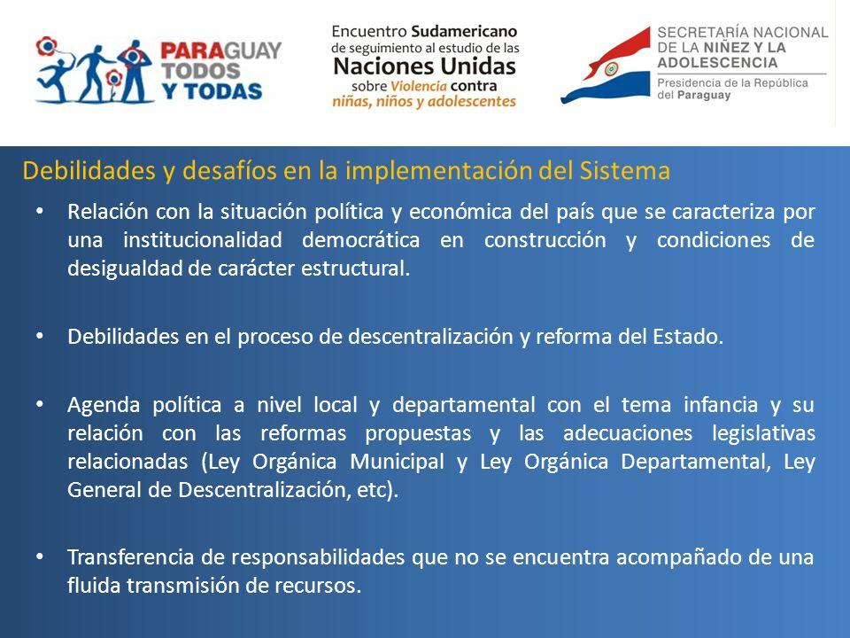 Debilidades y desafíos en la implementación del Sistema Relación con la situación política y económica del país que se caracteriza por una institucion
