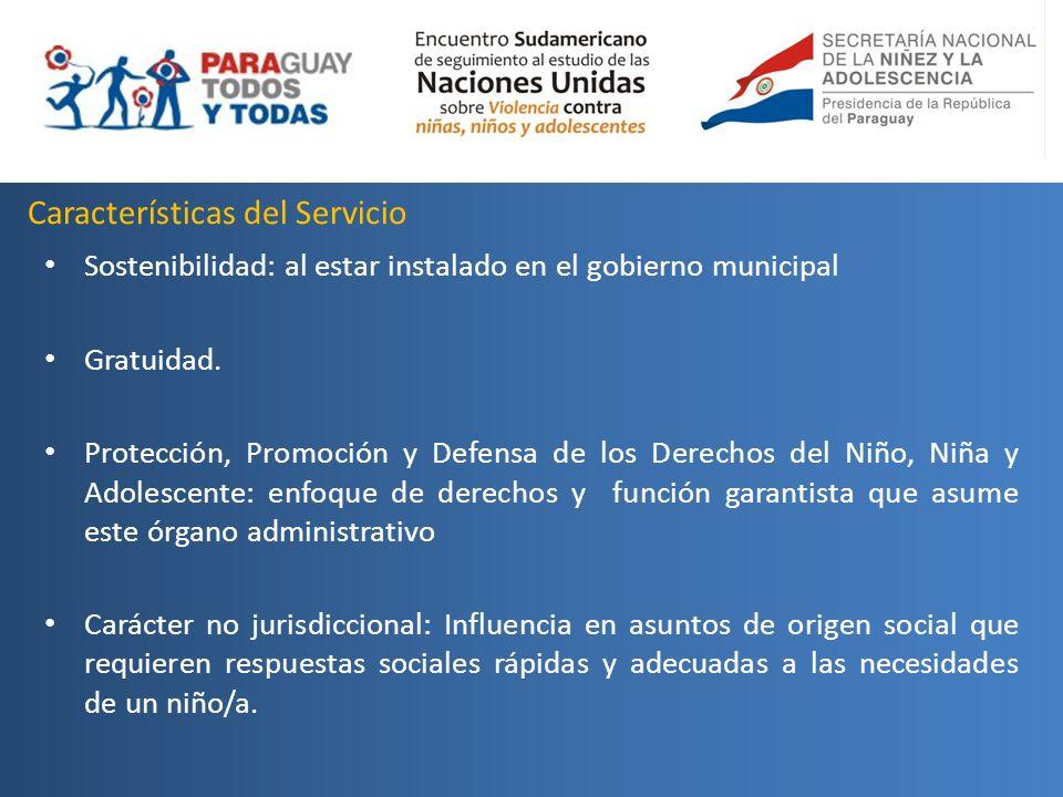Características del Servicio Sostenibilidad: al estar instalado en el gobierno municipal Gratuidad. Protección, Promoción y Defensa de los Derechos de