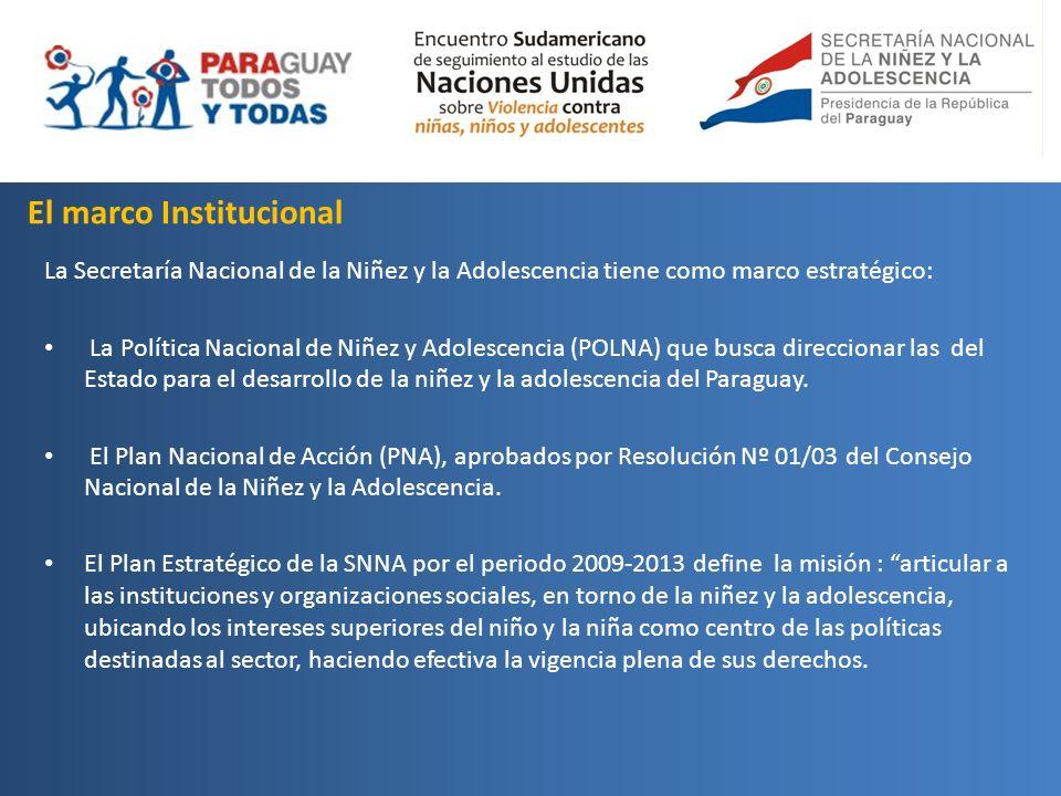 El marco Institucional La Secretaría Nacional de la Niñez y la Adolescencia tiene como marco estratégico: La Política Nacional de Niñez y Adolescencia