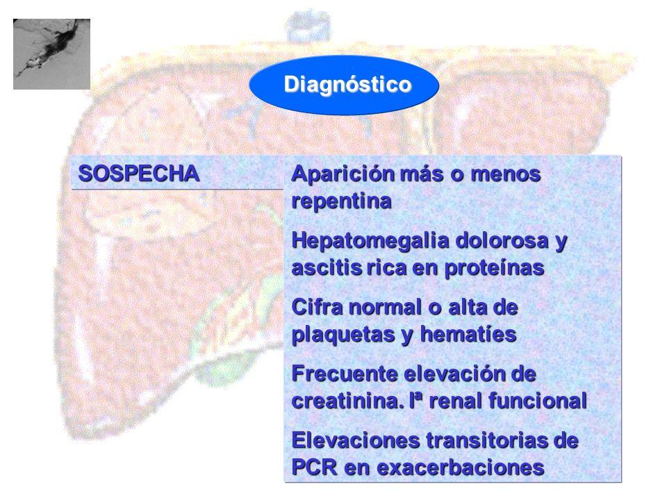 SOSPECHA Aparición más o menos repentina Hepatomegalia dolorosa y ascitis rica en proteínas Cifra normal o alta de plaquetas y hematíes Frecuente elev