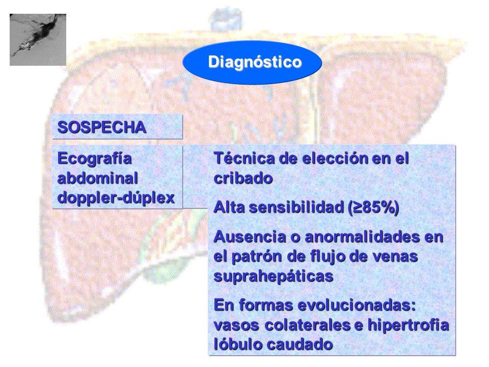 SOSPECHA Técnica de elección en el cribado Alta sensibilidad (85%) Ausencia o anormalidades en el patrón de flujo de venas suprahepáticas En formas ev