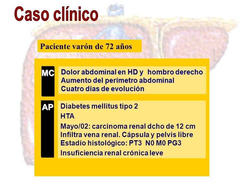 Dolor abdominal en HD y hombro derecho Aumento del perímetro abdominal Cuatro días de evolución MC Diabetes mellitus tipo 2 HTA Mayo/02: carcinoma ren