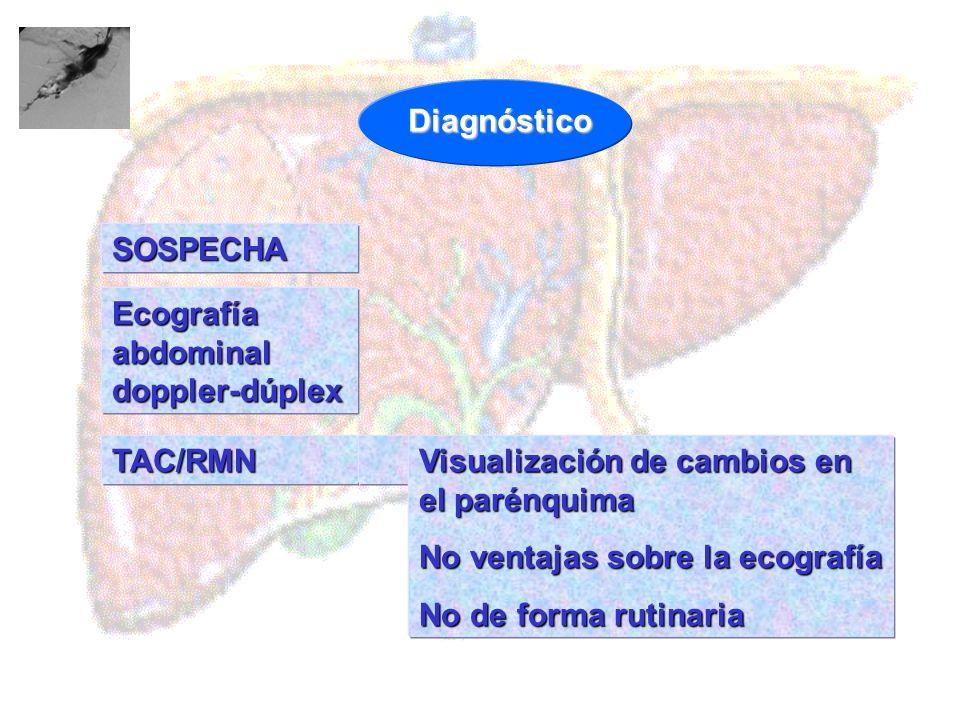 SOSPECHA TAC/RMN Visualización de cambios en el parénquima No ventajas sobre la ecografía No de forma rutinaria Diagnóstico