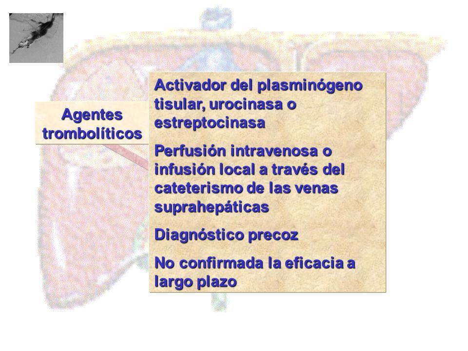 Agentes trombolíticos Tratamiento Activador del plasminógeno tisular, urocinasa o estreptocinasa Perfusión intravenosa o infusión local a través del c