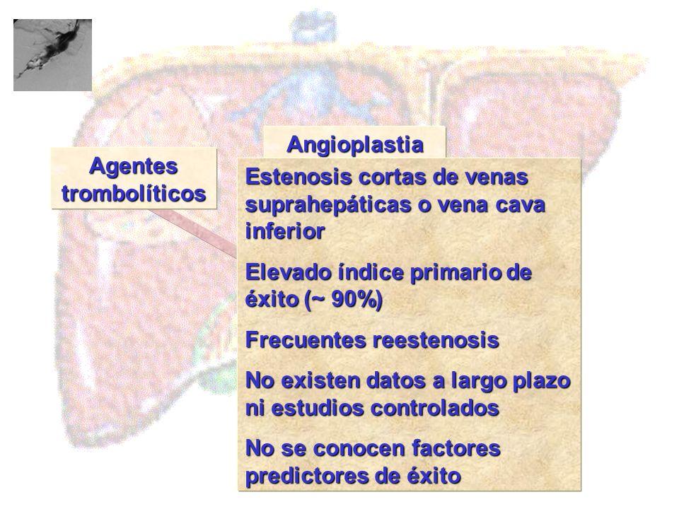 Agentes trombolíticos Angioplastia Tratamiento Estenosis cortas de venas suprahepáticas o vena cava inferior Elevado índice primario de éxito (~ 90%)