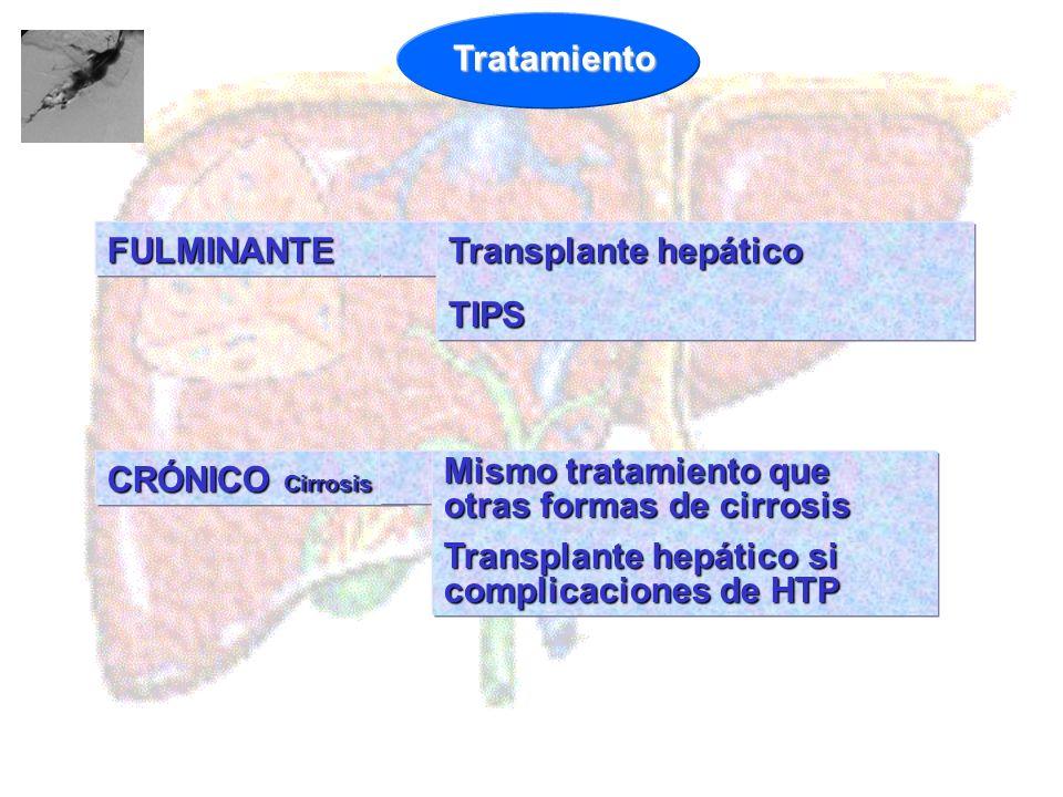 FULMINANTE Transplante hepático TIPS CRÓNICO Cirrosis Mismo tratamiento que otras formas de cirrosis Transplante hepático si complicaciones de HTP Tra