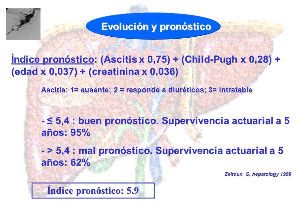Índice pronóstico: (Ascitis x 0,75) + (Child-Pugh x 0,28) + (edad x 0,037) + (creatinina x 0,036) Ascitis: 1= ausente; 2 = responde a diuréticos; 3= i