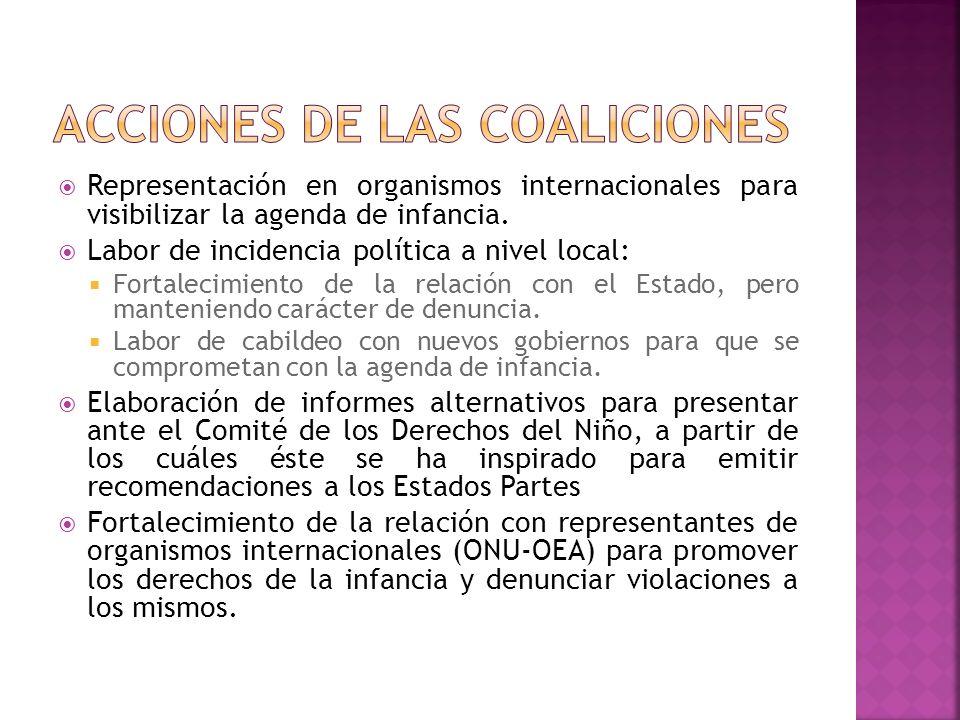 Representación en organismos internacionales para visibilizar la agenda de infancia. Labor de incidencia política a nivel local: Fortalecimiento de la