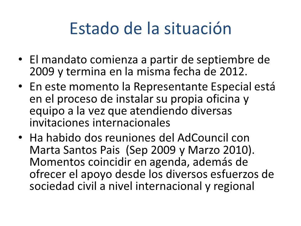 Estado de la situación El mandato comienza a partir de septiembre de 2009 y termina en la misma fecha de 2012. En este momento la Representante Especi