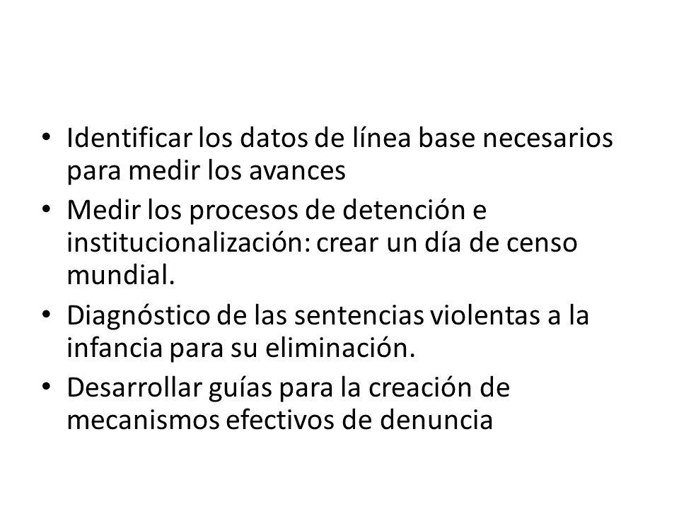 Identificar los datos de línea base necesarios para medir los avances Medir los procesos de detención e institucionalización: crear un día de censo mu