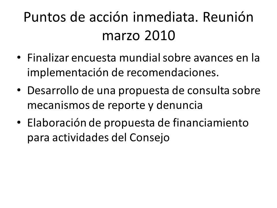 Puntos de acción inmediata. Reunión marzo 2010 Finalizar encuesta mundial sobre avances en la implementación de recomendaciones. Desarrollo de una pro