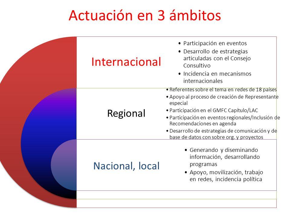 Actuación en 3 ámbitos Internacional Regional Nacional, local Participación en eventos Desarrollo de estrategias articuladas con el Consejo Consultivo