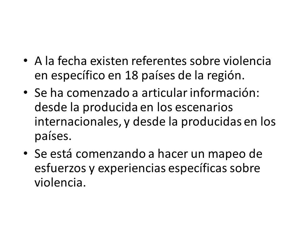 A la fecha existen referentes sobre violencia en específico en 18 países de la región. Se ha comenzado a articular información: desde la producida en