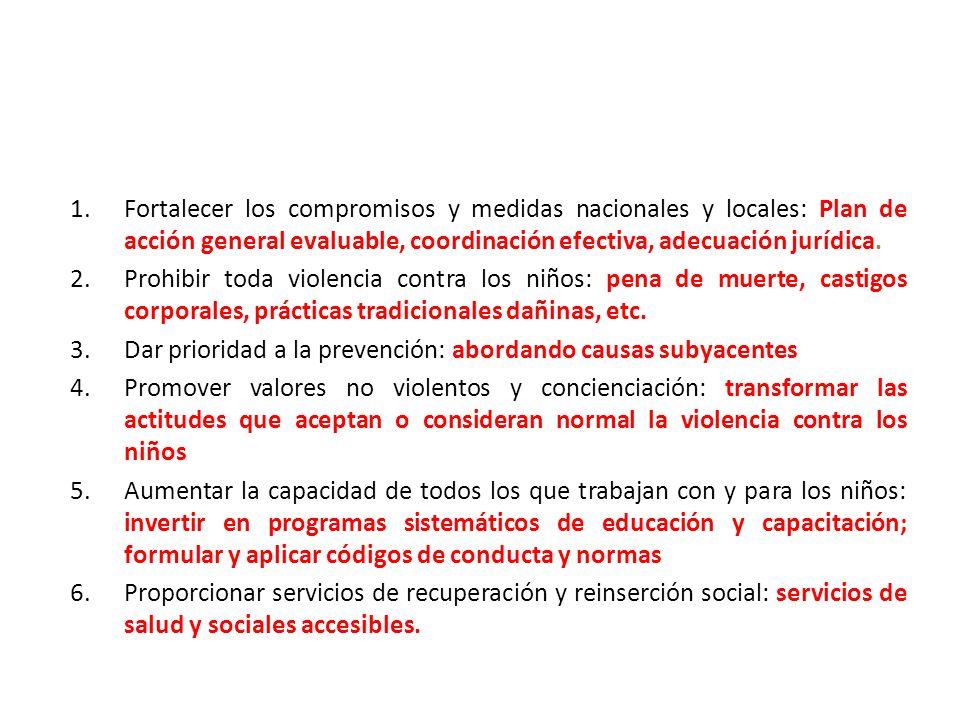 1.Fortalecer los compromisos y medidas nacionales y locales: Plan de acción general evaluable, coordinación efectiva, adecuación jurídica. 2.Prohibir