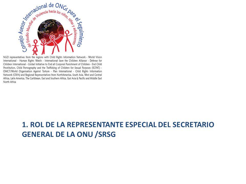 1. ROL DE LA REPRESENTANTE ESPECIAL DEL SECRETARIO GENERAL DE LA ONU /SRSG