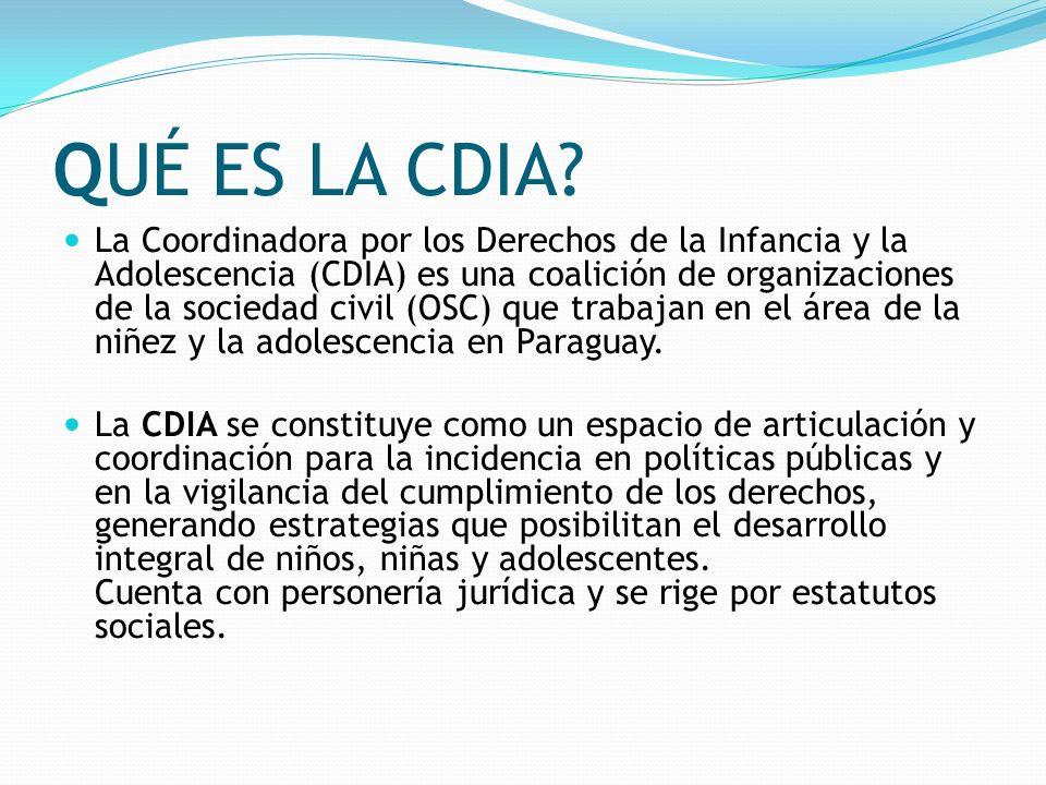 QUÉ ES LA CDIA? La Coordinadora por los Derechos de la Infancia y la Adolescencia (CDIA) es una coalición de organizaciones de la sociedad civil (OSC)