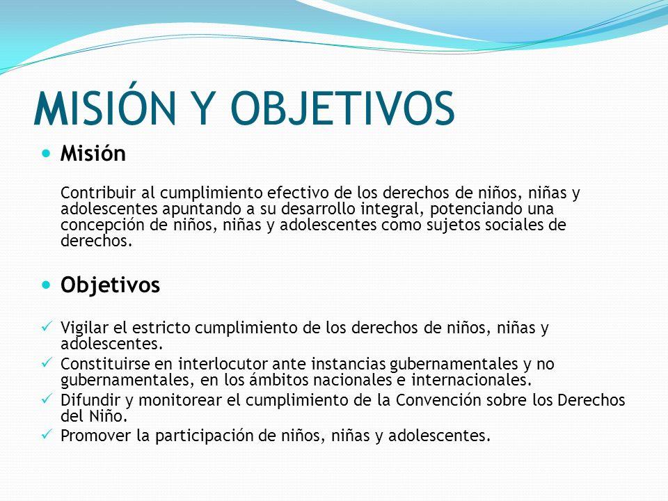 MISIÓN Y OBJETIVOS Misión Contribuir al cumplimiento efectivo de los derechos de niños, niñas y adolescentes apuntando a su desarrollo integral, poten