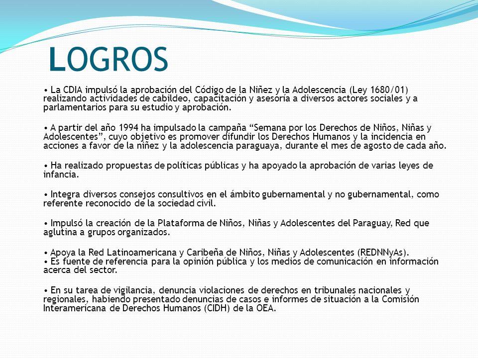 LOGROS La CDIA impulsó la aprobación del Código de la Niñez y la Adolescencia (Ley 1680/01) realizando actividades de cabildeo, capacitación y asesorí